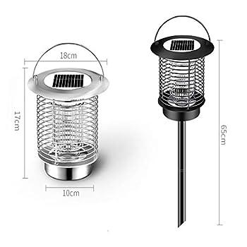 QSBY Lampe Tueur de moustiques en Plein air piège à moustiques imperméable à l'eau Multifonction Solaire Intelligente Light Control Répulsif Lampe-2 pièces,Noir,Outdoor