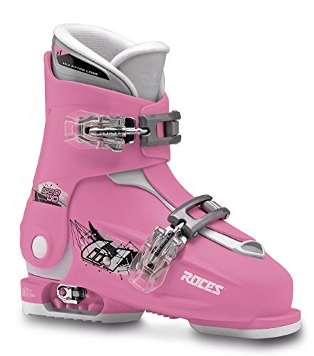 Roces Kinder Skischuhe Idea Up Größenverstellbar, Deep Pink-White, 30/35, 450491-009