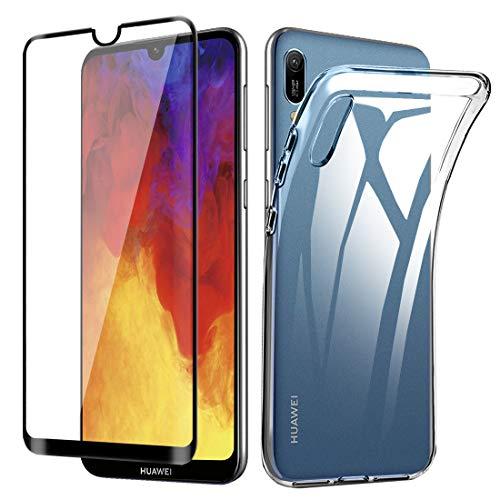 Lifeacc Handyhülle für Huawei Y6 2019 Hülle + Vollständige Abdeckung Panzerglas Bildschirmschutzfolie, Ultra Dünn Silikon Transparent für handyhülle Huawei Y6 2019