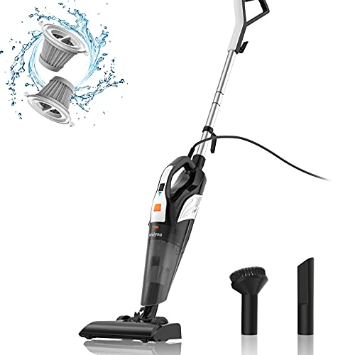 Meiyou Stick Vacuums-Handheld Corded-Lightweight-Powerful Suction - 4 in 1/18kpa/Washable HEPA Filter for Home/Car/Pet Hair/Carpet/Hard Floor