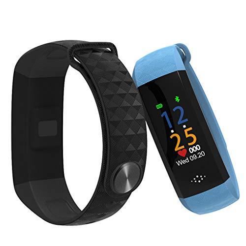 GLEMFOX Fitnesstracker met kleurenscherm, hartslagbewaking, horloge, activiteitentracker, IP67, waterdicht, slaapmonitor, GPS, stappenteller, voor kinderen en dames en heren, smartwatch blauw