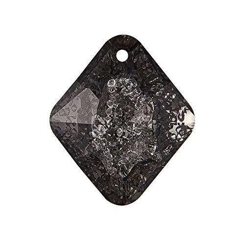 Stiesy 2 Pieces Sparkle K9 Glass Rhinestone Pendants Imitation Druzy Crystal Gemstone Faceted Glass Charms for DIY Jewelry Making - Jet Metallic Silver