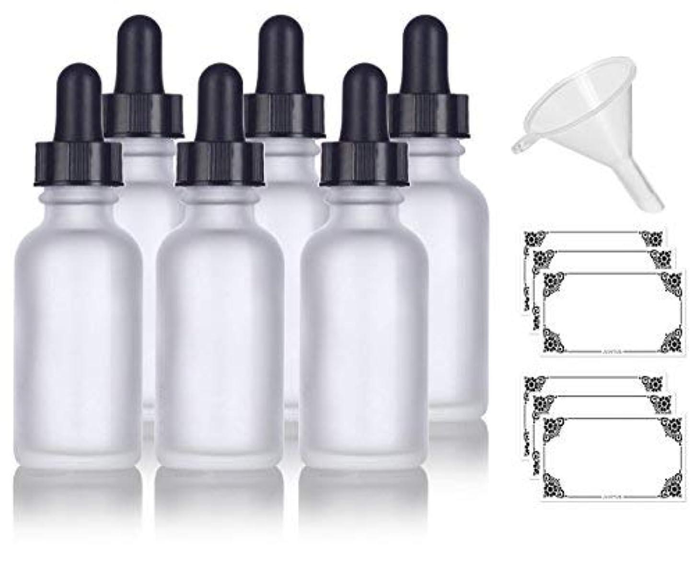 漫画剃る眼1 oz Frosted Clear Glass Boston Round Dropper Bottle (6 pack) + Funnel and Labels for cosmetics, serums, essential oils, aromatherapy, food grade, bpa free [並行輸入品]