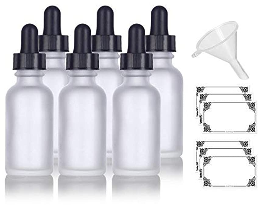 鎮痛剤図クラウン1 oz Frosted Clear Glass Boston Round Dropper Bottle (6 pack) + Funnel and Labels for cosmetics, serums, essential oils, aromatherapy, food grade, bpa free [並行輸入品]