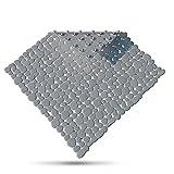 SilverRack Duschmatte DermaSensitivo 100% BPA frei (Grau) Kiesel Steinoptik - Duscheinlage rutschfest 53x53 cm für Kinder und Baby - Duschmatte Antirutschmatte für sicheren Halt in der Dusche