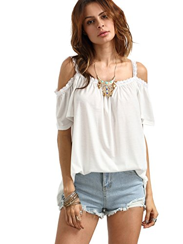 ROMWE Women#039s Open Cutout Cold Shoulder Short Sleeve Top Casual Tee T Shirts M White
