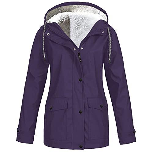 Winter Coats for Women Solid Rain Hooded Jacket Outdoor Raincoat Windproof Cardigans Plus Velvet Outerwear Purple