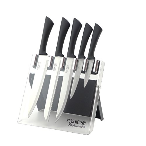 Ross Henery professional knives, 5 Piece kitchen knife set with Silver coloured blades in a clear foldable Acrylic Stand