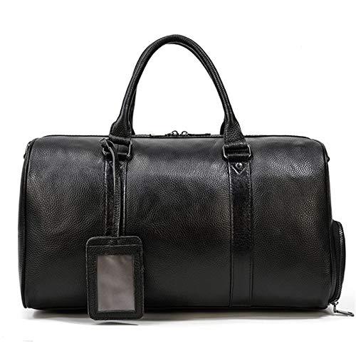 Jklt Large-capacity Luggage Bag Lychee Pattern Men's Travel Bag Portable Single Shoulder Messenger Belt Shoe Position Detachable Shoulder Strap (Color : Black, Size : 45x23x25cm)
