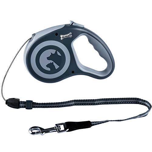 EC.TEAK Retractable Dog Leash, 26FT Dog Walking Leash for Medium Large Dogs up to 77lbs, One Button Break & Lock, Heavy Duty No Tangle. Grey, Large