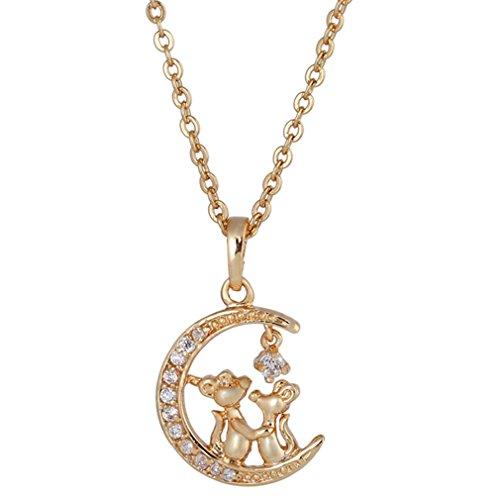 Yazilind Anhänger Halskette mit Maus Mond Form Zirkonia Vergoldet Schmuck für Frauen Weihnachten Geburtstag Hochzeitsgeschenk