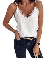 MaQiYa Women's V Neck Lace Trim Cami Tank Tops Summer Spaghetti Strappy Sleeveless Blouses Shirts (White,Medium)