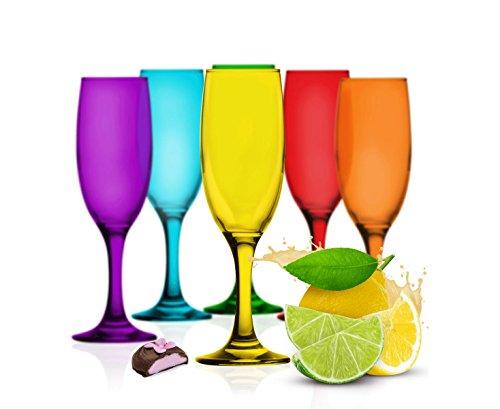 Sendez 6 Bunte Sektgläser 200ml Sektkelche Champagner Prosecco Sektglas Proseccoglas