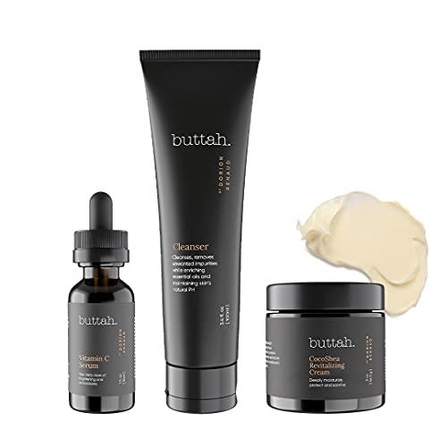 Buttah Skin Transforming Kit with CocoShea Revitalizing Cream for Melanin Rich Skin   CocoShea Revitalizing Cream 2 oz   Vitamin C Serum 1 oz   Buttah Cleanser 3.4 oz   Black Owned Skincare…