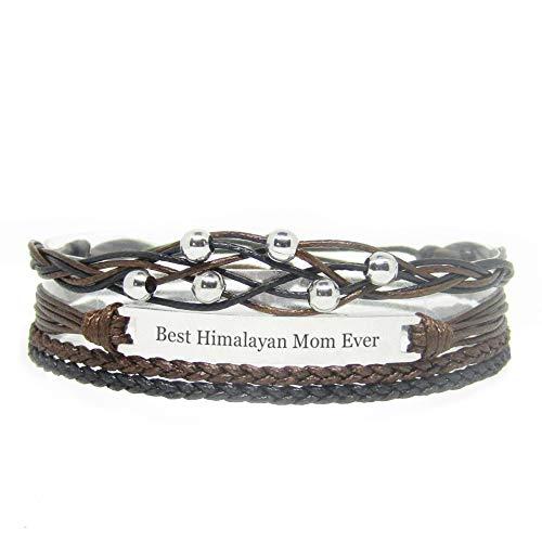 Miiras Handgemachtes Armband für Frauen - Best Himalayan Mom Ever - Schwarz - Aus Geflochtenes Seil und Rostfreier Stahl - Geschenk für Himalaya Mutter