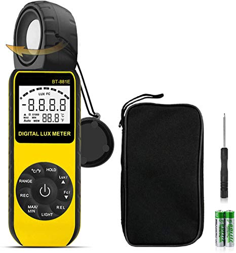 BTMETER Lichtmessgerät Beleuchtungsmessgerät,BT-881E Digital Luxmeter Lichtmesser mit Reichweite zu 300.000 Lux Auflösung 0,01,Light Meter für Umgebungstemperatur, LED-Licht,Aquarienfotografie