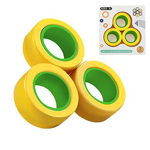 ZoneYan Finger Magnetic Rings, 3pcs Magnetischer Armbandring Entpacken Spielzeug, Magnetic Rings Toys, Anti-Stress Magnetringe, Magnetringe Spiel, Magic Ring Dekompressionsspielzeug (Gelb)