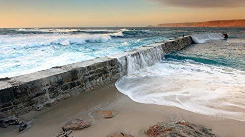 lxlwxh541 Diamant Painting Bilder Water Sea Ocean Wave Waves Mole Dam Dikes Fences Sky Arts Craft Home 40X50Cm Round Geschenk