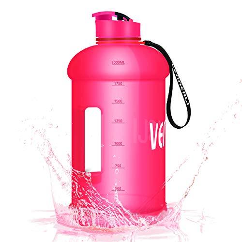 VENNERLI 2,2 Liter Trinkflasche Groß Sport Wasserflasche mit Griff Gym Bottle BPA Frei Fitness Training Plastik Sportflasche Auslaufsicher Ideal für Sport Gym Fitness Büro Heim (Rosa)