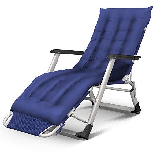 ASDFGG Lit Pliant Multifonctionnel Pliant Camping Cot Bureau Nap lit avec Pad en Peluche for Bureau d'intérieur Balcon Patio Jardin extérieur Plage (Couleur : Bleu, Taille : 175x52x30cm)