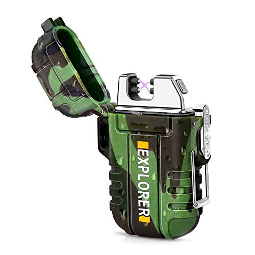 Green Vivid Waterproof Flameless Electric Lighter-Dual Arc Plasma Beam Lighter-USB Rechargeable-Windproof-No Butane-Ideal Lighter for Indoor and Outdoor Activities (Camouflage)