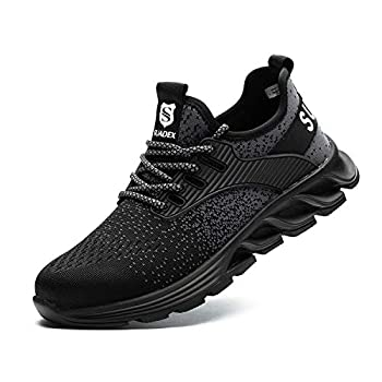 SUADEX Steel Toe Shoes for Men Women Safety Indestructible Work Shoes Lightweight Breathable Composite Toe Sneakers Black