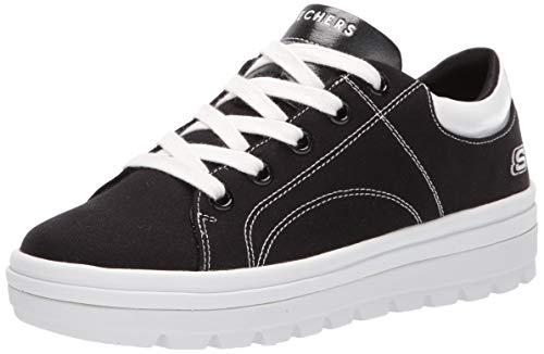 Skechers Street Cleat-bring It Back Sneaker Damen, Schwarz (Black Canvas/White Duraleather Trim Blk), 38 EU