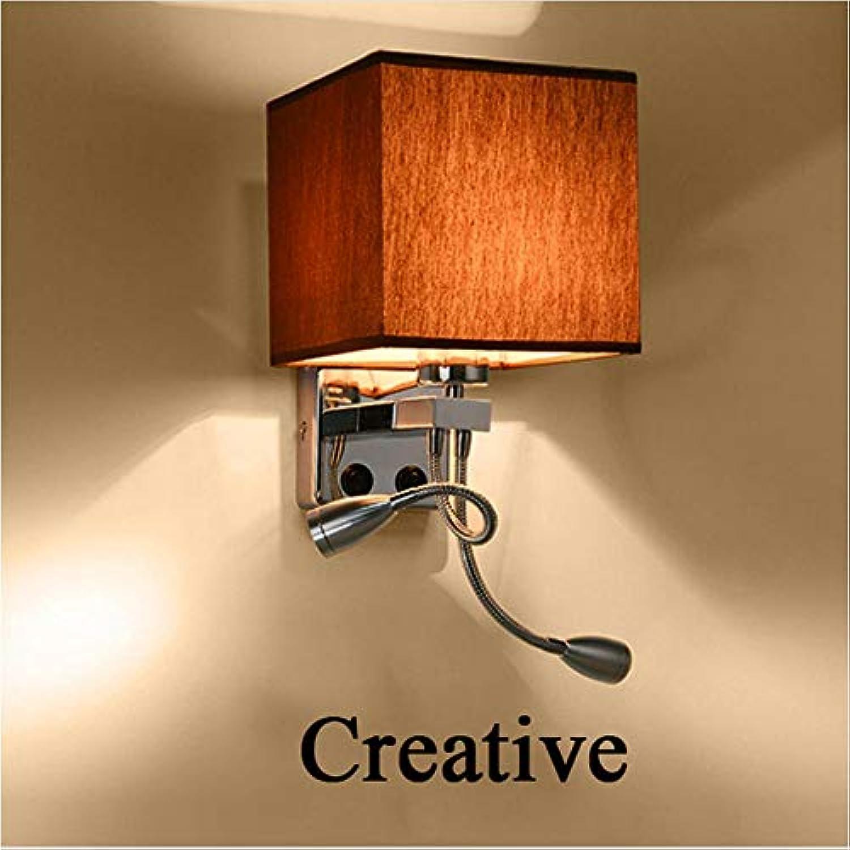 Moderne LED Stoff Eisen Wandleuchte Dekoration Doppelrohr E27 Schalter Beleuchtung Schlafzimmer Lesung Nacht schwarz