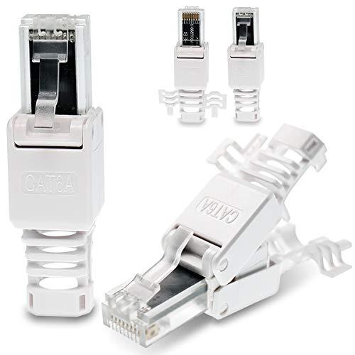 4 Stück Netzwerkstecker werkzeuglos CAT6A RJ45 LAN UTP Kabel Stecker ohne Werkzeug werkzeugfrei CAT6 CAT5 CAT7 Verlegekabel Patchkabel Netzwerkkabel Toolless Modular Plug Connector Crimpstecker