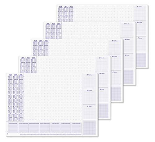 SIGEL HO355 papieren bureau-onderlegger, ca. DIN A2, met kalender voor 3 jaar en weekplanning Design lilac 5 Design lilac