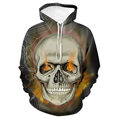 HZKF Chaqueta con Capucha De Miedo Cráneo 3D Thriller Digital Impreso Suéter con Capucha Informal (los Mismos Patrones Que El Anverso Y Reverso) C-XL