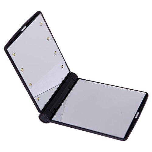 iLory Portable Miroir Pliant Cosmétique Avec des Lumières 8 Bright LED,Ultra-mince Miroir de Maquillage Voyage Compact Pocket,Miroir de Poche Lumineux (Black)