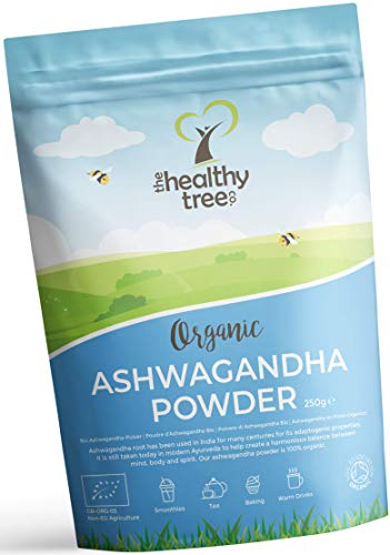 Organic Raw Ashwagandha Powder by TheHealthyTree Company - Vegan, 100% Natural Ayurvedic Adaptogenic Healing Herb for Mind, Body and Spirit - Pure Ashwagandha Root (250g)