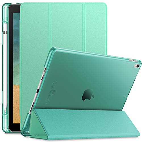 Infiland Case for iPad Air 3rd Generation 2019 / iPad Pro 10.5 2017, Translucent Frosted Back Smart Cover Case with Apple Pencil Holder,Mint Green