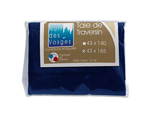 Nuit des Vosges 2100129 Cotoval Taie de Traversin Uni Coton Marine 43 x 185 cm