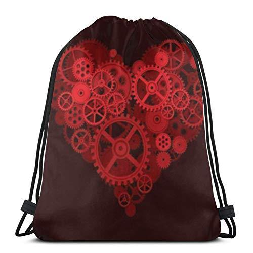 fenrris65 Mochila de terileno para hombre y mujer, diseño de corazón rojo