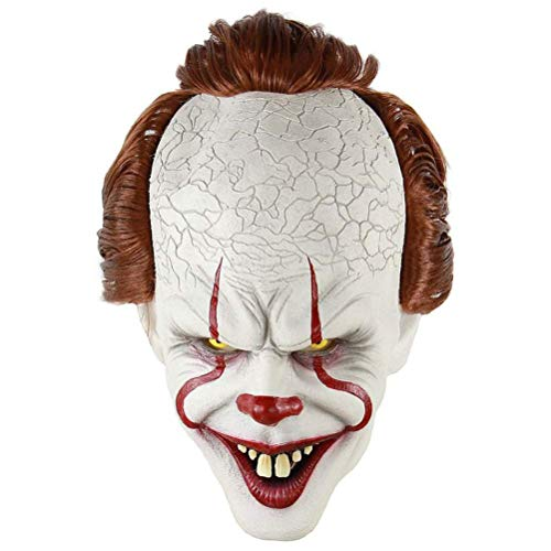 Yissma Stephen Kings Es Maske, Pennywise Scary Clown Latex Maske, Horror Joker Maske Clown Maske Halloween Cosplay Kostüm Requisiten