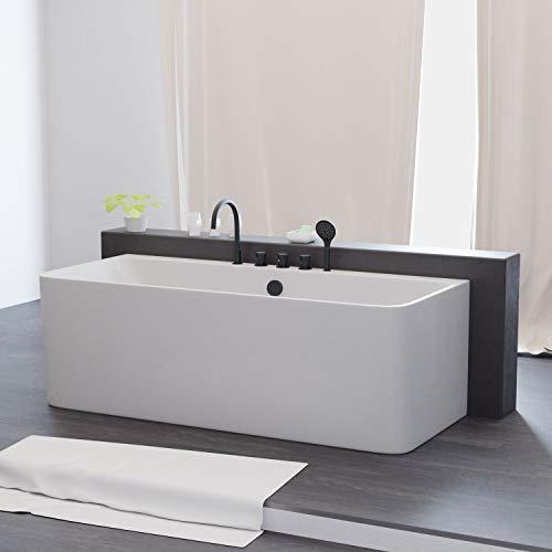 Tronitechnik Badewanne Saria 170cm x 80cm x 72cm Wanne aus Acryl mit Siphon/Ablaufgarnitur in weiß Luxus Badewanne rechteckig mit Armaturen