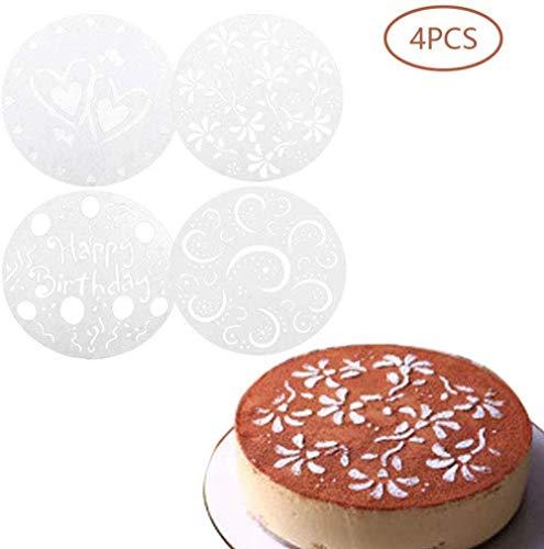 4 estilos de plantillas de aerosol de corazón de flores, conjunto de plantillas de decoración de pasteles, herramientas de panadería para decoración de moldes de pasteles de cumpleaños, plantillas de