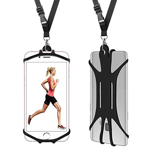 MASHANGMAOYI Cell Phone Lanyard Case, Universal Smartphone Cover with Adjustable Soft Neck Strap Holder - Black