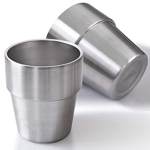 Newk Vasos de acero inoxidable, 10 onzas/300 ml, taza de metal de doble pared para barbacoa, hogar, oficina, fiesta, conducción, juego de 2 unidades