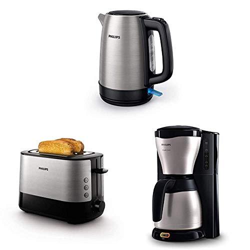Philips HD9350/90 Wasserkocher (2200 Watt, 1.7 Liter) [Energieklasse A+++] + HD2637/90 Toaster (7 Stufen, Brötchenaufsatz, Stopp-Taste, 1000 W) + HD7546/20 Gaia Filter-Kaffeemaschine mit Thermo-Kanne