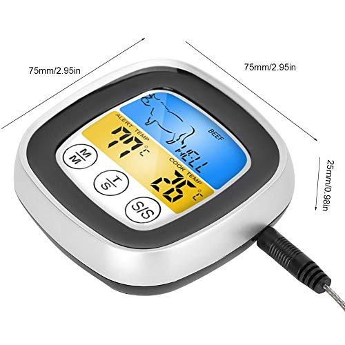 Jopwkuin Termómetro de Cocina Digital, operación de Pantalla táctil, probador de Temperatura de Alimentos de Lectura instantánea para Barbacoa para Parrilla para Horno