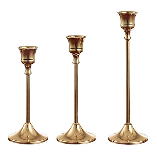 Set di 3 portacandele in ottone dorato, in metallo e metallo, a un braccio, candelabro, candelabro alto, vintage, per decorazione di matrimoni, soggiorno, camera da letto, cena, decorazione vintage