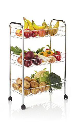 KitchenCraft Chrome-Plated Kitchen Trolley on Wheels with 3 Tiered Storage Baskets