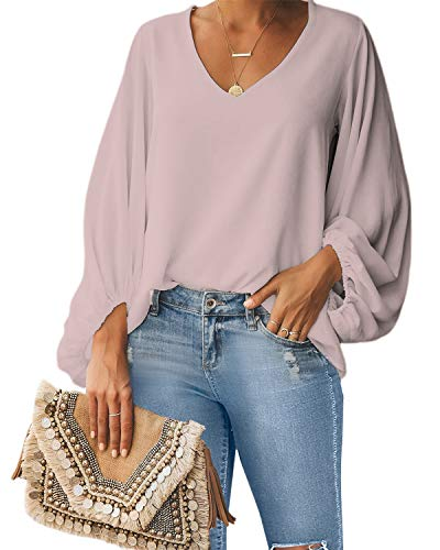 Style Dome Bluse Damen Lange Puffärmel Chiffon Langarmshirt V-Ausschnitt Elegante Oberteile Locker Tunika Tops Rosa S