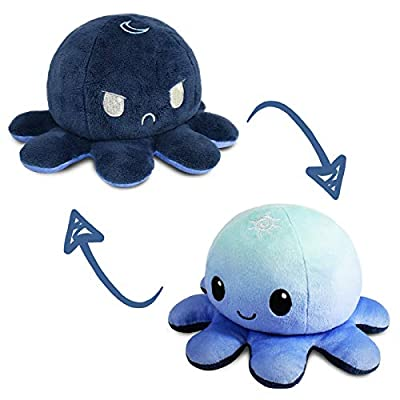 TeeTurtle | The Original Reversible Octopus Plushie | Patented Design | Light Blue + Dark Blue | Day + Night | Show your mood without saying a word! by TeeTurtle