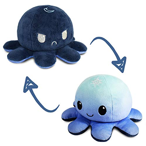 TeeTurtle | The Original Reversible Octopus Plushie | Patented Design | Light Blue + Dark Blue | Day + Night | Show your mood without saying a word!