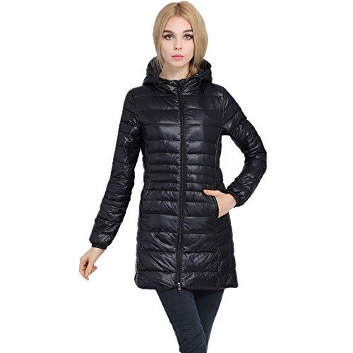 Showlovein Damen Ultra Leicht Lang Kapuzen Jacke Warme Steppjacke Übergangsjacke Winter Mantel