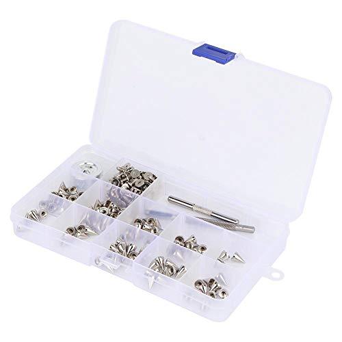 HEEPDD 100 stuks bolletjes klinknagel oorstekers met doos voor DIY heuptas schoenen kleding decoratie 7 mm x 10 mm